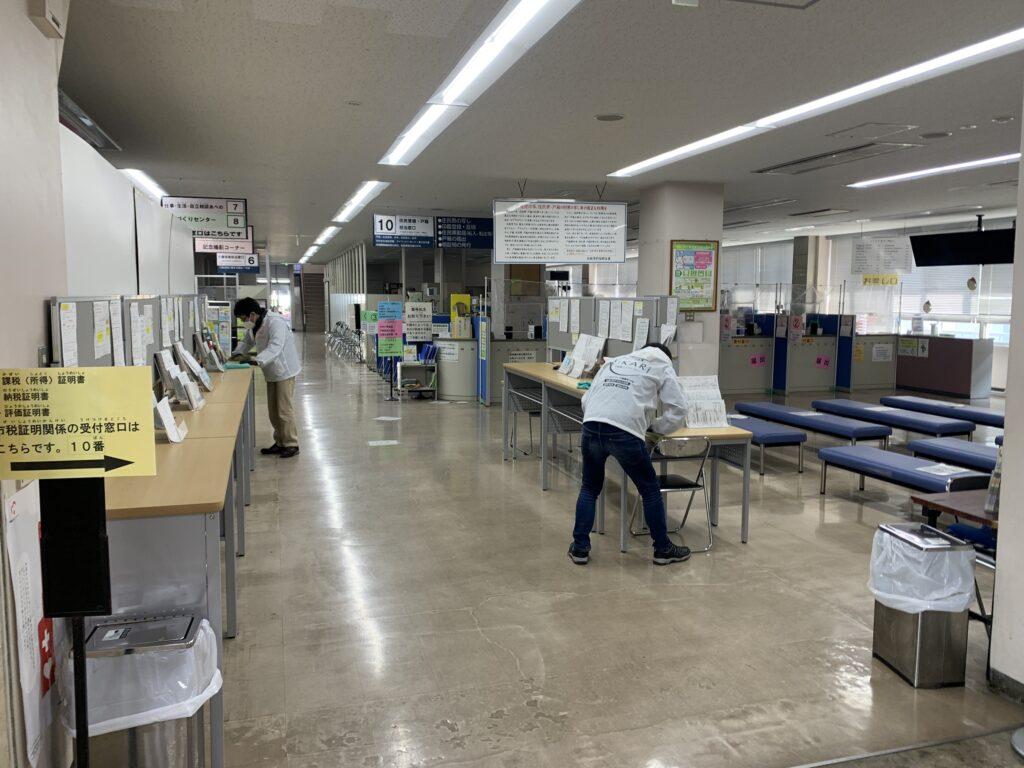 大阪市阿倍野区役所庁舎机の光触媒コーティング